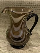 Vintage Art Glass Pitcher Smoky Glass With White Mma Etched In Bottom