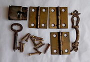Antique Lock, Key, Pull And Hinges For Victorian Oak Curved Glass China Cabinet 2