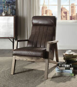 Acme Emint Accent Chair In Distress Chocolate Top Grain Leather Finish 59534