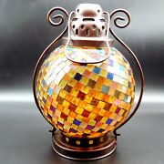 Partylite Global Fusion Lantern Colored Reflective Glass Art Tealight Candle