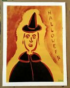 Halloween Witch Painting Poster On Loose Canvas..9 X 12 By Jordok 1