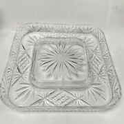 M031 Vintage Crystal Clear Square Shaped European Salad Candy Serving Dish Tray