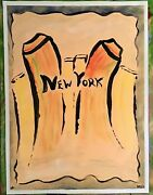 New York City Painting Pop Art Outsider On Loose Canvas..12 X 16 By Jordok