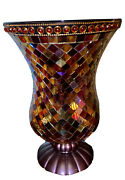 Partylite™ Global Fusion Glass Mosaic Hurricane W/tealight Tree 12 Tall 8 Wide
