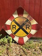 Vintage Large Railroad Crossing Sign 48 X 48 Inch Metal Red White Yellow
