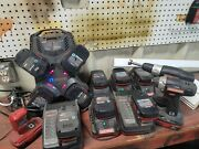 Lot Of Used Craftsman 19.2v Battery 13, 8 Chargers, 1 Drill 1 Impact