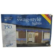 Holiday Time Swag Style String Lights 94044b White Blue 120 V 10 Ft 150 Ct