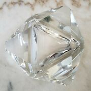 Clear Faceted Crystal Star Of David Vintage Mid Century Ashtray Paperweight
