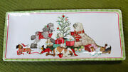 Pier One 1 Ironstone Christmas Morning Pups 6x14 Serving Dish Plate Dog Puppies