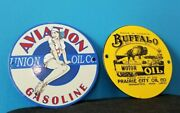 Vintage Buffalo Gasoline And Union Oil Co Porcelain Gas Service Station Two Signs