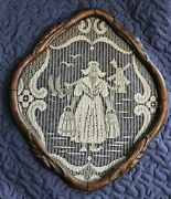 Antique Wood Framed Dutch Lace. Girl Holding Buckets And Windmill Scene.