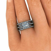 Brilliant 1.40 Ct Real Diamond Engagement Ring Solid 18k White Gold Rings Size 8