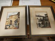 Pair Of Vintage Watercolor Paintings Free Shipping.