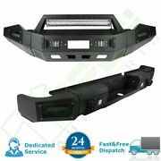Powder Coated Front Rear Bumper Assembly W/ Led Lights For Dodge Ram 1500 13-18