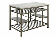 Acme Lanzo Counter Kitchen Island With Marble And Antique Pewter 98402