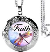 Beautiful Faith Dragonfly Locket Pendant Necklace 24 Stainles Steel Chain
