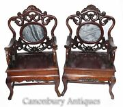 Pair Carved Chinese Arm Chairs - Antique Hardwood
