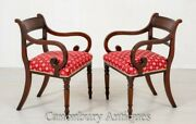 Pair Regency Arm Chairs - Antique Mahogany Open Chair