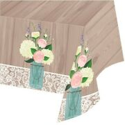Creative Converting 728706 Rustic Wedding - Plastic Table Cover All Over Pr