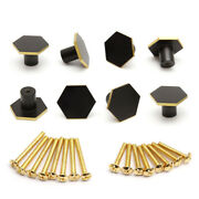 8 Sets Solid Brass Cabinet Knobs Hexagon Black Gold Cupboard Pull Handles 34mm