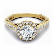 1.30 Ct Real Diamond Women Engagement Rings Solid 14 K Yellow Gold Size 8 9 9.5