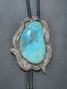 Large Native American Turquoise Bolo Tie With Sterling Silver