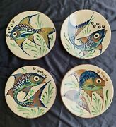 Set Of 4 Mid-century Ceramic Wall Plates With Fish Decor Signed Puigdemont