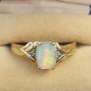Amazing Vintage Fire Opal And Diamond 10kt Gold Ring Odd Cut 3grams Size 10