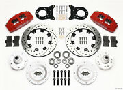 Wilwood Dynapro 6 Front Hub Kit 12.19in Drill Red 1965-1969 Mustang Disc Andamp
