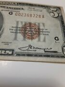 1929 5 Brown Seal National Currency Chicago. Old Us Paper Currency Aunc 9/18