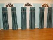 Calico Pinch Pleated Blue Drapery Curtain Sets With Decorative Metal Rod