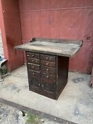 1930s Industrial Kitchen Island Workbench Farmhouse Country Primitive Tv Console
