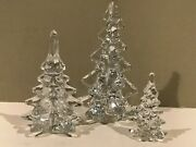 Clear Glass Crystal Christmas Trees Set Of 3
