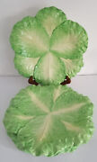 """Very Rare 4 Mottahedeh Italy Stately Homes Cabbage Leaf Majolica Plates D 12"""""""