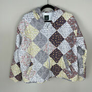 Wild Fable Patchwork Quilted Floral Full Zip Jacket Hooded Jacket Pockets Xxl