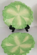 """Rare Set 6 Mottahedeh Italy Stately Homes Cabbage Leaf Majolica Plates D 8 1/4"""""""