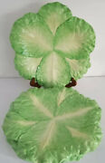 """Very Rare Set 5 Mottahedeh Italy Stately Homes Cabbage Leaf Majolica Plates 12"""""""