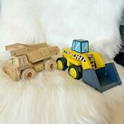 Tonka Wooden Dump Trucks Lot Of Two Toddler Toy Trucks Moveable Yellow Digger