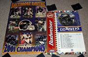 Baltimore Ravens 2 Poster Lot 1999 Schedule + 2001 Champions Collage Football