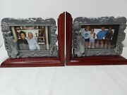 Rare Find Lot Of 2 Wooden Book Ends Pewter Photo Picture Frames 4 X 6 Golf Gift