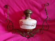 Antique New York Bb Co Hanging Glass Oil Lamp Tank Parts Hand Painted Brass