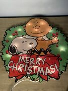 Peanuts Merry Christmas Light Up Sign Decoration Charlie Brown Snoopy Tested