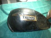 Vintage Triumph Motorcycle Fuel Tank With Nice Badges