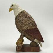 Vintage Folk Art Bald Eagle Pinecone And Clay Polychrome Sculpture