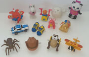 Vintage 1970s-90s Toy Wind Up Figure Lot Tomy Airplane Cowboy Spider Shirt Tales