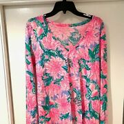 New Lilly Pulitzer Etta Top Pink Blossom Try Your Zest Floral Tee Shirt Medium