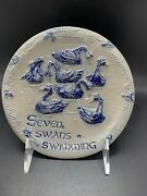 Rowe Pottery Works Plate 7 Seven Swans A Swimming 12 Days Of Christmas Hanging