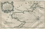 Original Antique Map Of The Harbour Of Louisburg And Gabarus Bay Canada F. 1757