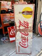 Large 54andrdquo X 18andrdquo Vintage Coca-cola Sign Coke Bottle Pop Drink Been Touched Up