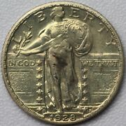1928-d 25c Standing Liberty Quarter - Uncirculated Details Cleaned